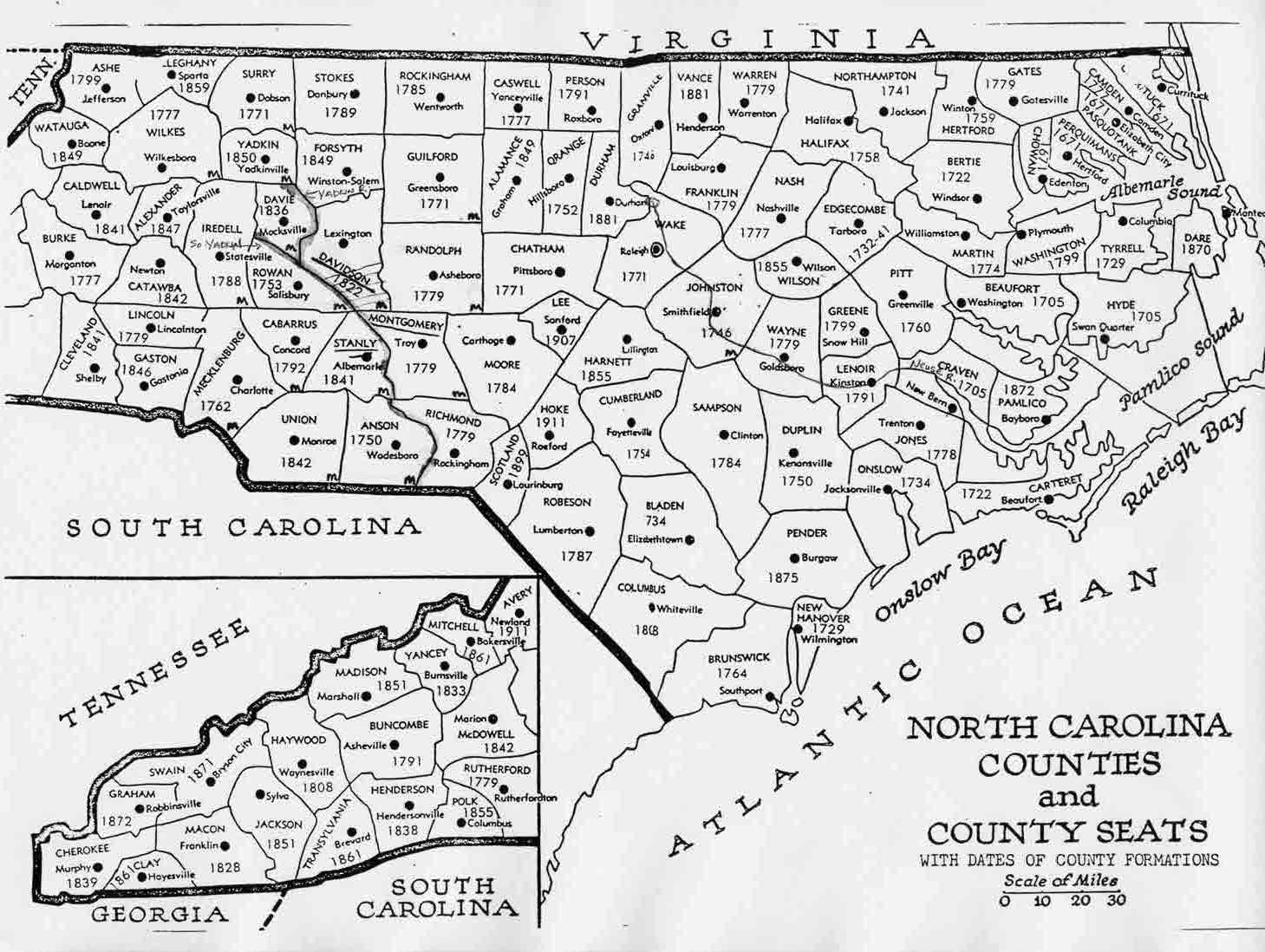 Maps - County maps of north carolina